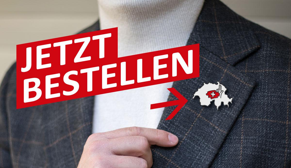 Schweizer-Pin, erhältlich bei den Historischen Schützen Schweiz.